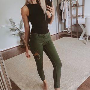Zara Dark Green Floral Embroidered Skinny Jeans